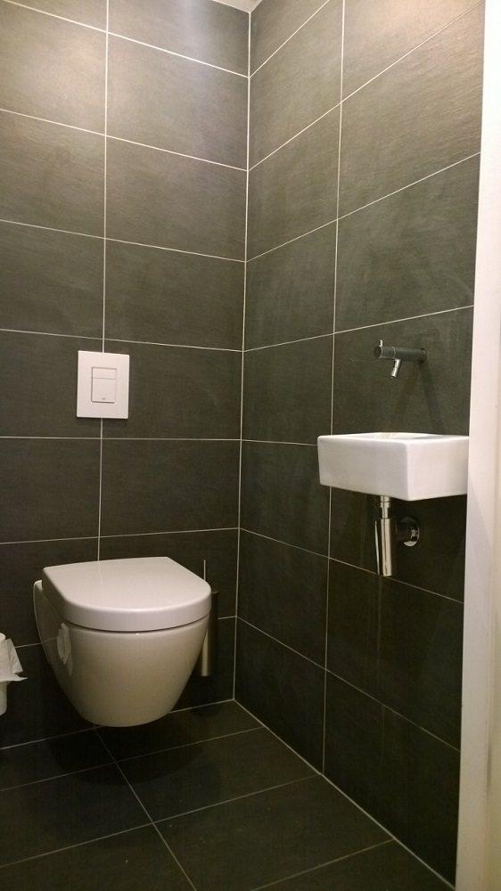 Toilet met zwarte vloertegels en fontein
